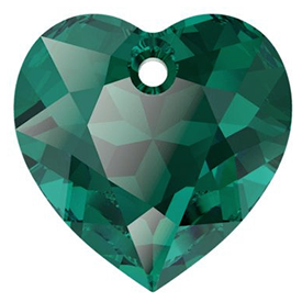 Pandantiv Swarovski 6432 HEART CUT PENDANT Emerald (205) 14,5 mm