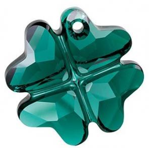 Pandantiv Swarovski 6764 CLOVER PENDANT Emerald (205) 23 mm - Trifoi