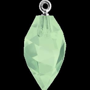 Pandantiv Swarovski 6541 TWISTED DROP PEND. CL.CAP Chrysolite Opal RHOD (294) 14,5 mm