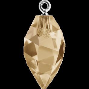 Pandantiv Swarovski 6541 TWISTED DROP PEND. CL.CAP Crystal Golden Shadow RHOD (001 GSHA) 14,5 mm