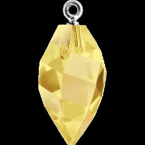 Pandantiv Swarovski 6541 TWISTED DROP PEND. CL.CAP Crystal Metallic Sunshine RHOD (001 METSH) 14,5 mm