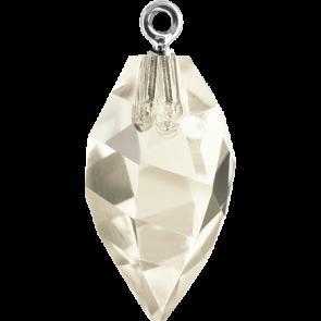 Pandantiv Swarovski 6541 TWISTED DROP PEND. CL.CAP Crystal Silver Shade RHOD (001 SSHA) 14,5 mm
