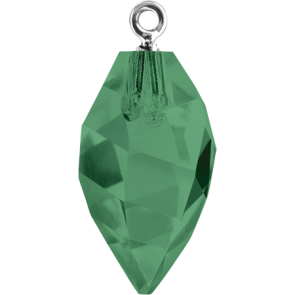 Pandantiv Swarovski 6541 TWISTED DROP PEND. CL.CAP Emerald GMET (205) 14,5 mm