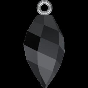 Pandantiv Swarovski 6541 TWISTED DROP PEND. CL.CAP Jet RHOD (280) 14,5 mm