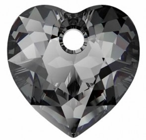 Pandantiv Swarovski 6432 HEART CUT PENDANT Crystal Silver Night (001 SINI) 14,5 mm