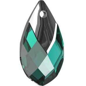 Pandantiv Swarovski 6565 Pear-shaped Pendant Emerald Light Chrome Z (205 L TCHZ) 18 mm