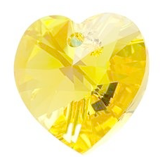 Pandantiv Swarovski 6228 XILION HEART PENDANT Light Topaz (226) 28 mm