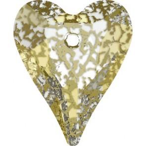 Pandantiv Swarovski 6240 WILD HEART PENDANT Crystal Gold Patina (001 GOLPA) 17 mm