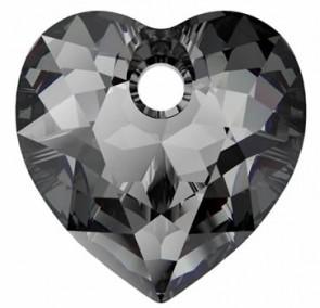 Pandantiv Swarovski 6432 HEART CUT PENDANT Crystal Silver Night (001 SINI) 14,5 mm
