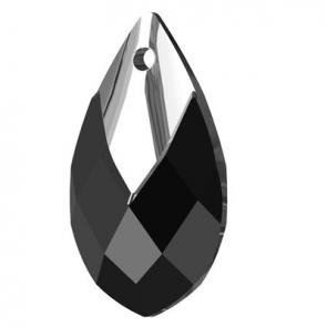 Pandantiv Swarovski 6565 Pear-shaped Pendant Negru-Jet Chrome Z MCI (001 LTCHZ)